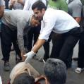 برخورد موتورسیکلت با عابر در نکا ،او را روانه بیمارستان کرد/ تصویر
