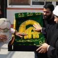 استقبال از پرچم گنبد طلایی امام رضا،توسط  پرسنل یگان دریابانی امیر آباد/ تصویر